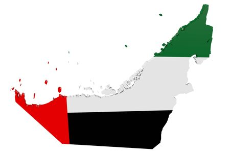 Map of the United Arab Emirates in the colors of the national flag Standard-Bild