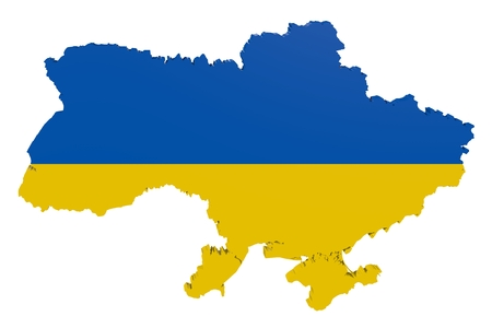 Map of Ukraine in the colors of the national flag