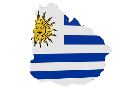 Map of Uruguay in the colors of the national flag Standard-Bild