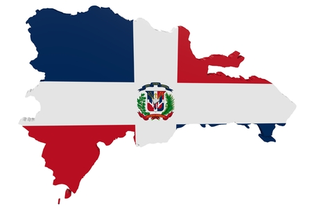 cantons: Map of the Dominican Republic in the colors of the national flag