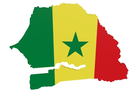 cantons: Map of Senegal in the colors of the national flag