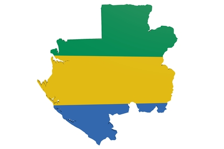 cantons: Map of Gabon in the colors of the national flag Stock Photo