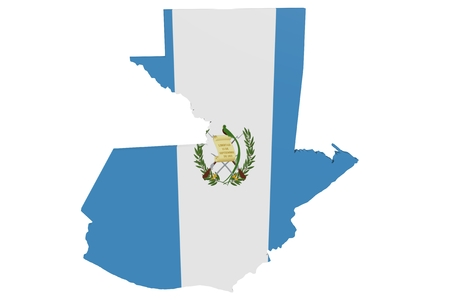 Map of Guatemala in the colors of the national flag