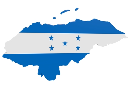 cantons: Map of Honduras in the colors of the national flag