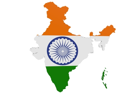 cantons: Map of India in the colors of the national flag