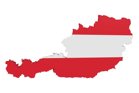 cantons: Map of Austria in the colors of the national flag Stock Photo