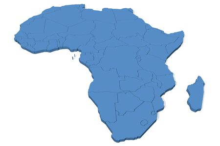 3D map of Africa with country borders