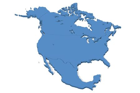 3D map of North America with country borders