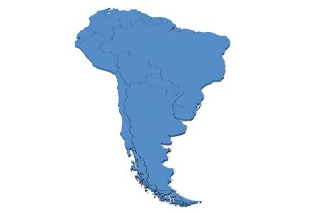 3D map of South America with country borders Standard-Bild