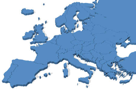 3D map of Europe with country borders