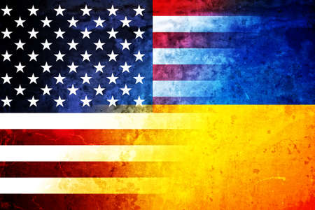 The flags of the USA and Ukraine in a grunge design Standard-Bild