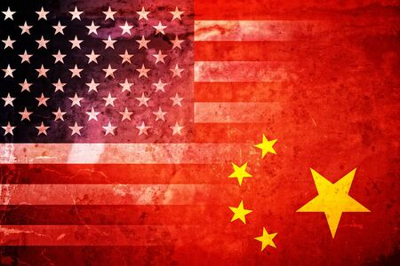 The flags of the USA and China in a grunge design Stock Photo