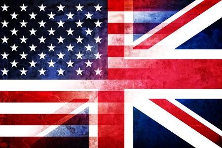 The flags of the USA and the UK in a grunge design