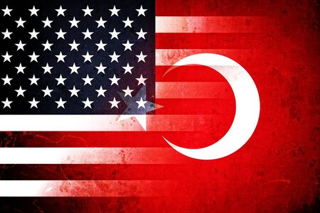 The flags of the USA and Turkey  in a grunge design Standard-Bild