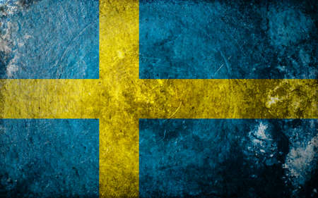 A grunge design of the flag of Sweden Standard-Bild
