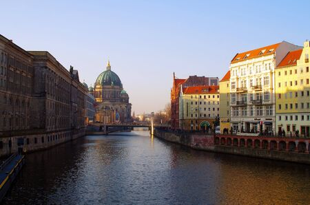 The Spree river towards the Berlin Dom cathedral