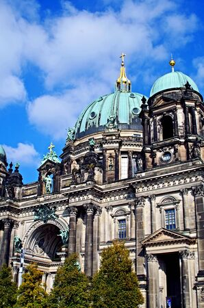Berlin's cathedral dome against a bright blue sky