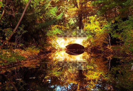 A bridge reflecting on a still pond in autumn