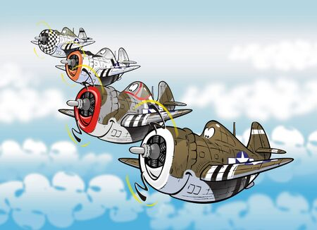 Caricatures of the famous fighter bomber plane p-47 thunderbolt