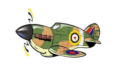 Cartoon Hawker Hurricane plane