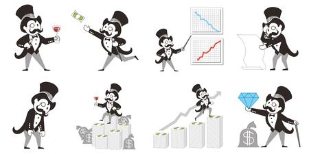 millionaire in 9 poses illustration Stock Photo