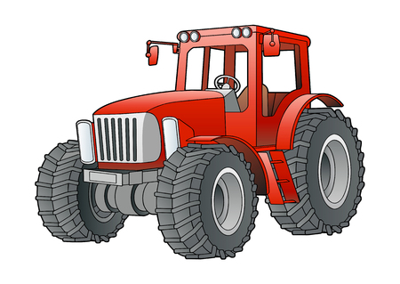 traction: Red tractor isolate on white Stock Photo