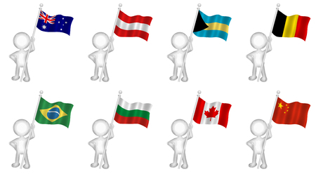 3d figure holding various national flags set 1 Stock Photo