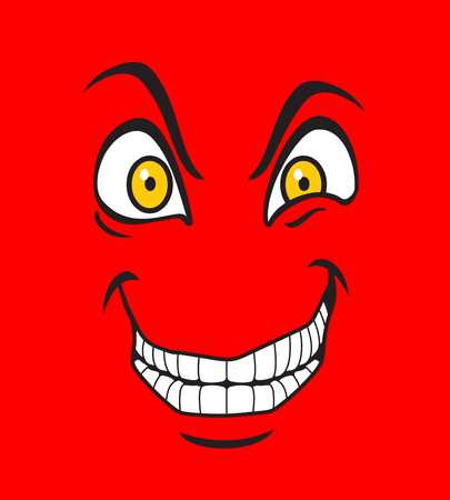 Illustration of a cartoon evil facial expression Фото со стока