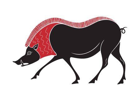 boar ancient greek style tribal design