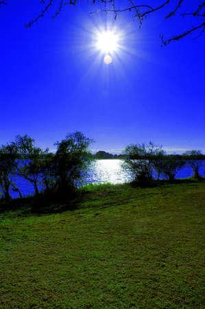 River bank sunshine Stock Photo