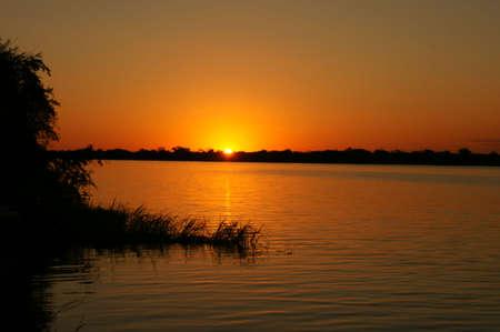 Open water tramonto, fiume Chobe DSC