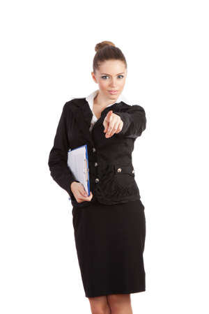 attractive smile young businesswoman standing pointing finger photo