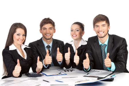 young business people show thumb up gesture photo