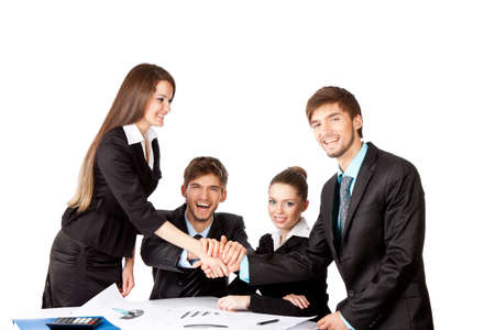positive smile young business people handshake white background photo
