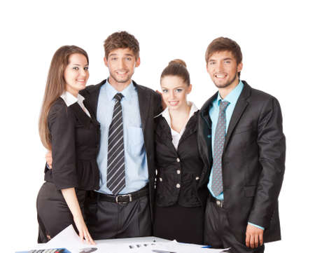 smile young business people standing at the desk photo