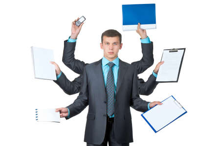 six persons: young handsome businessman with six hands over white  Stock Photo