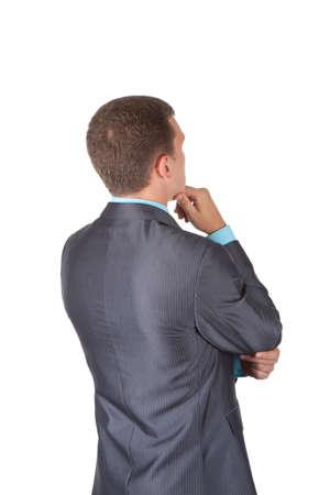persona confundida: Los hombres de negocios de nuevo stannding sobre fondo blanco Foto de archivo