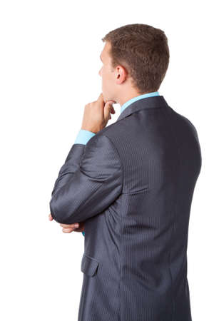 chin on hands: Business men back stannding over white background