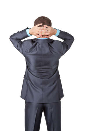 Business men back stannding over white background photo
