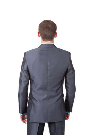 view from behind: Business men back stannding over white background