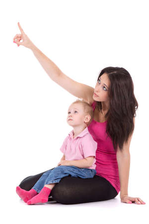 appy mother point finger to the up corner with child