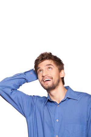 look up: Businessman emotion Stock Photo