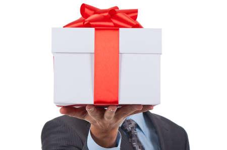 cadeaupapier: geschenkdoos zakenman Stockfoto
