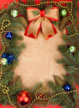 Christmas Background. Blank old paper card with Decoration photo