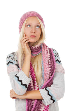 teenage girl sad think looking up wear warm sweater photo