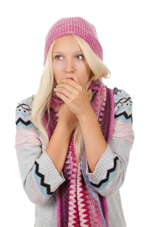 sick girl: sick girl got flu or cold, cover mouth by hold hand Stock Photo