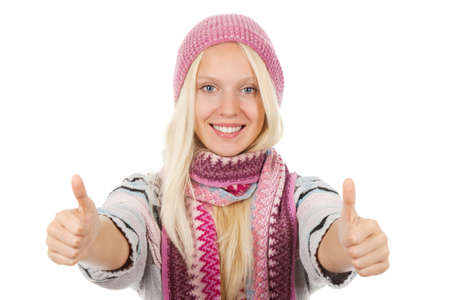 oung happy smile teenage girl holding two hands with thumb up photo