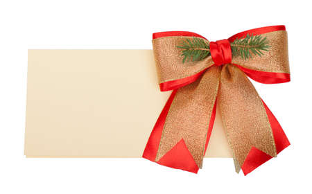 Christmas card with empty copy space and red golden bow Stock Photo - 11532678
