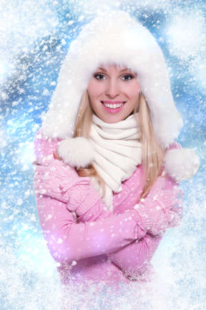Christmas Girl. Winter new year woman, happy smile photo