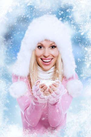Christmas Girl. Winter new year woman, happy smile photo